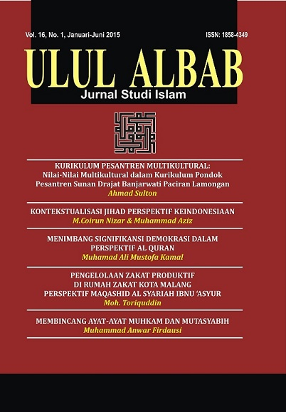 Cover ULUL ALBAB (VOL 16, NO 1; 2015)