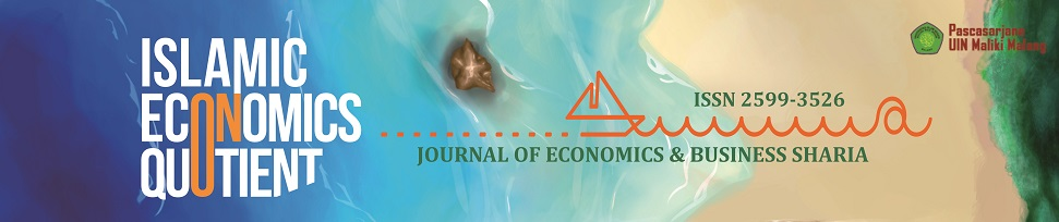 ISLAMIC ECONOMICS QUOTUENT : Journal of Economics & Business Sharia (ISSN 2599-3526) _______________________________________  is peer-reviewed journal published by Maulana Malik Ibrahim State Islamic University (UIN) of Malang. This journal is a pioneer i